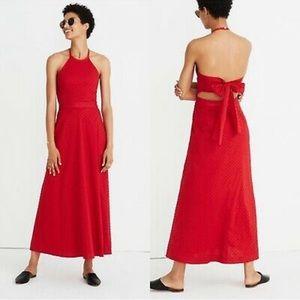 NWT Madewell red Dot halter tie back midi dress